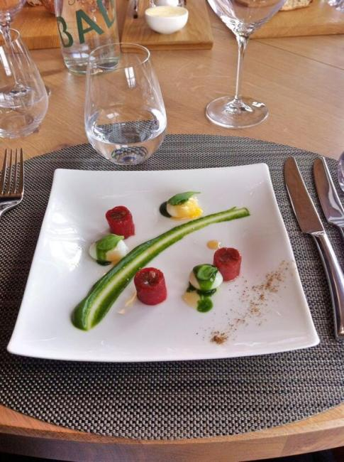 Mark Sullivan (@markenroute) of the USA went fancy for this plate of beef tartare and quail eggs in France: https://twitter.com/markenroute/status/483691622232633344/photo/1