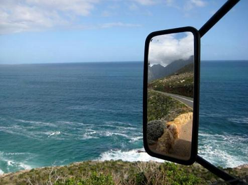 The always exciting co-host Savannah Grace (@sihpromatum) of Holland captured a fantastic ocean/review mirror shot in South Africa. Anyone else think it looks like the California coast? https://twitter.com/Sihpromatum/status/486227597547020289/photo/1