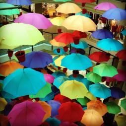 Suzanne (@philatravelgirl) of the USA caught a colorful umbrella art installation. I sort of wish it were real. pic.twitter.com/iw2GNIvKzr