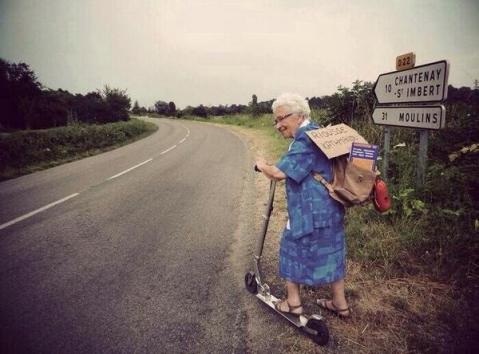 Perhaps stealing the show was WandaLusta (@WandaLusta), whose proud grandmother still travels at age 90. And on a scooter, too! (27 favorites and counting...) https://twitter.com/WandaLusta/status/486237000605773824/photo/1
