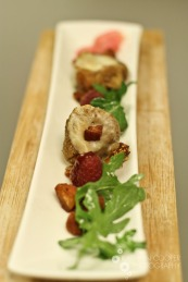 My favorite dish thus far: cheese-stuffed figs with arugula, raspberries, and bacon lardons.