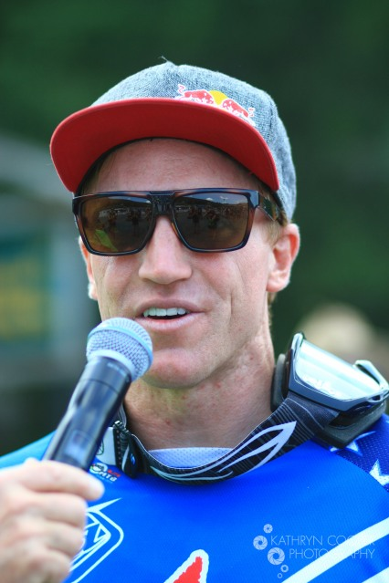 2nd place Aaron Gwin. I'm reflected in his sunglasses.
