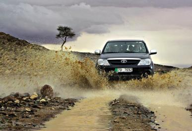 Jens Notroff (vagabondslog) of Germany caught the excitement of a desert turning to a mud river: https://twitter.com/vagabondslog/status/521741247585992704/photo/1