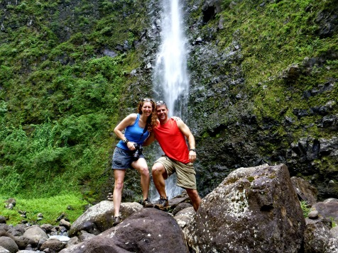 "Enjoying our private waterfall after ""crushing it"" on the Kalalau Trail"
